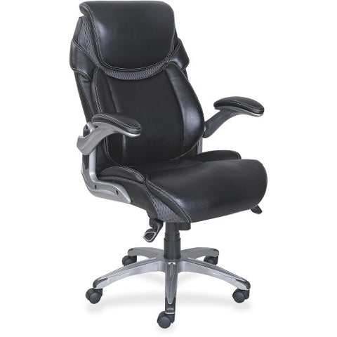 Lorell Wellness by Design Executive Chair in Black Leather LLR47921