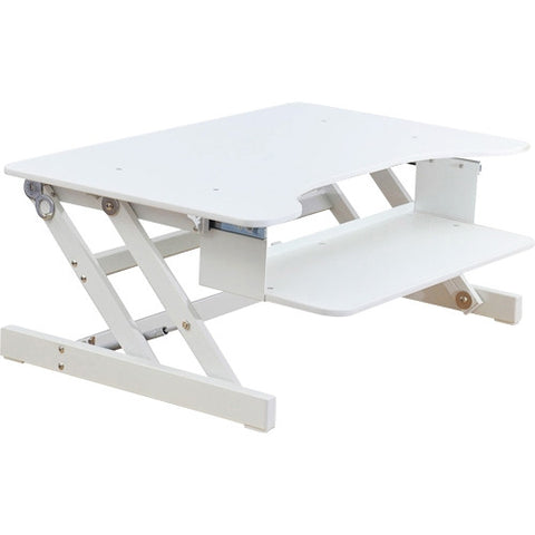 Lorell sit-to-stand monitor riser in white
