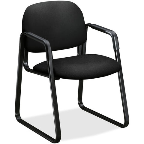 HON Solutions Seating Sled Base Guest Chair | Fixed Arms | Black Fabric ; UPC: 752856923957 ; Image 2