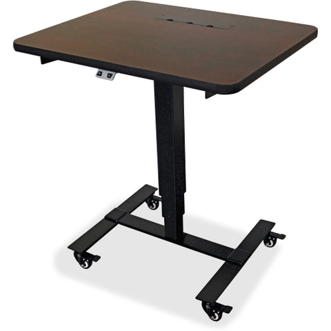 Lorell Mahogany Laminate Top Mobile Sit-To-Stand Table
