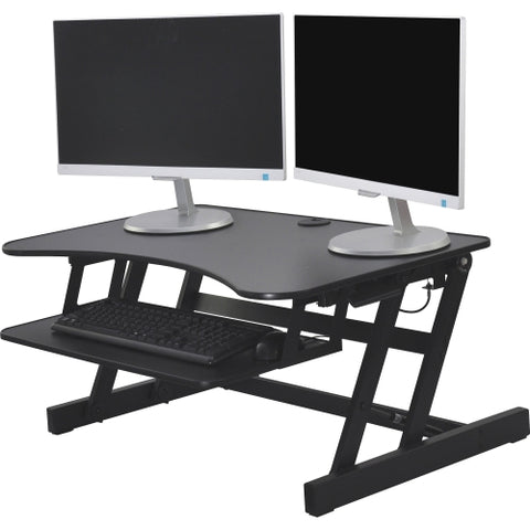 Lorell Adjustable Desk Riser Plus, 40 lb Load Capacity, in Black
