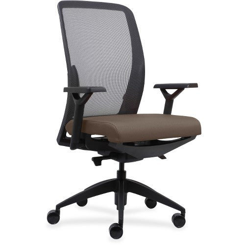 Lorell Made in America Executive Mesh Back/Fabric Seat Task Chair in Beige ; UPC: 035255831628