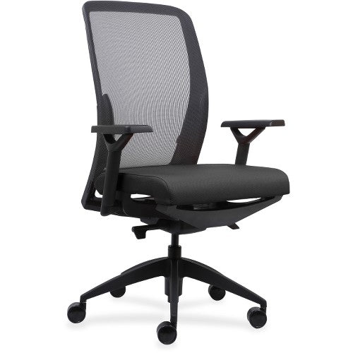 Lorell Made in America Executive Mesh Back/Fabric Seat Task Chair in Black Vinyl ; UPC: 035255830751