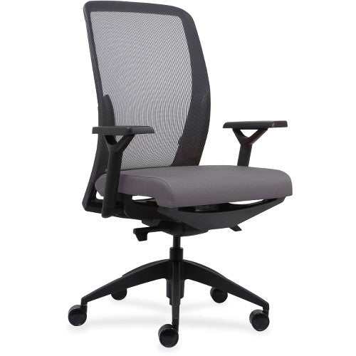 Lorell Made in America Executive Mesh Back/Fabric Seat Task Chair in Ash Gray Vinyl ; UPC: 035255830751