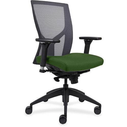 Lorell Made in America High-Back Mesh Chairs w/Fabric Seat in Fern Green ; UPC: 035255830751