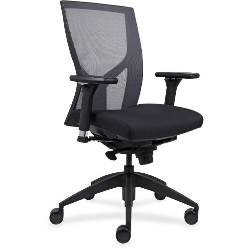 Lorell Made in America High-Back Mesh Chairs w/Fabric Seat in Black Vinyl ; UPC: 035255830751