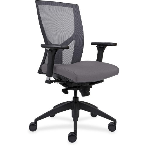 Lorell Made in America High-Back Mesh Chairs w/Fabric Seat in Ash Gray Vinyl ; UPC: 035255830751