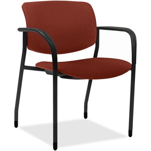 Lorell Made in America Contemporary Stacking Chairs in Orange, 2/CT ; UPC: 035255830751
