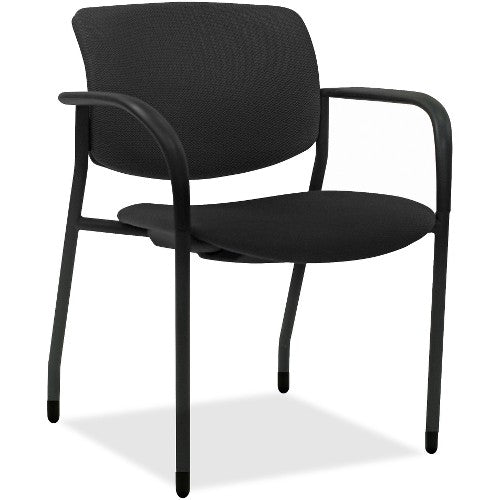 Lorell Made in America Stack Chairs w/Vinyl Seat & Back in Black Vinyl, 2/CT ; UPC: 035255830751
