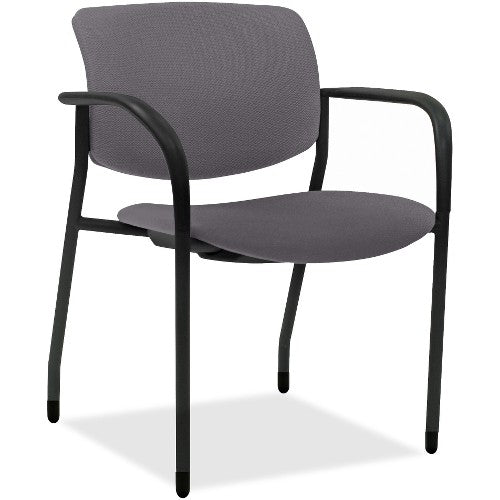 Lorell Made in America Stack Chairs w/Vinyl Seat & Back in Ash Gray Vinyl, 2/CT ; UPC: 035255830751