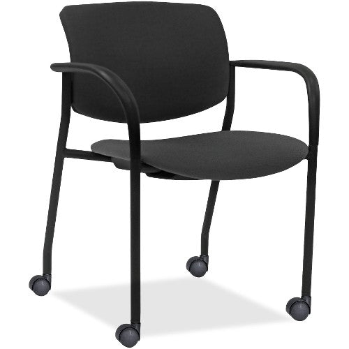 Lorell Made in America Stack Chairs w/Plastic Back & Fabric Seat in Ash Gray, 2/CT ; UPC: 035255830751