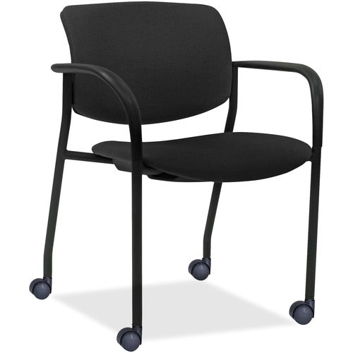 Lorell Made in America Stack Chairs w/Plastic Back & Vinyl Seat in Black, 2/CT ; UPC: 035255830751