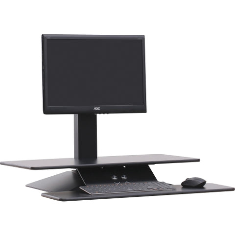 Lorell Sit-to-Stand Electric Desk Riser with Single Monitor Arm in Black