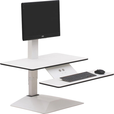 Lorell Sit-to-Stand Electric Desk Riser with Single Monitor Arm in White