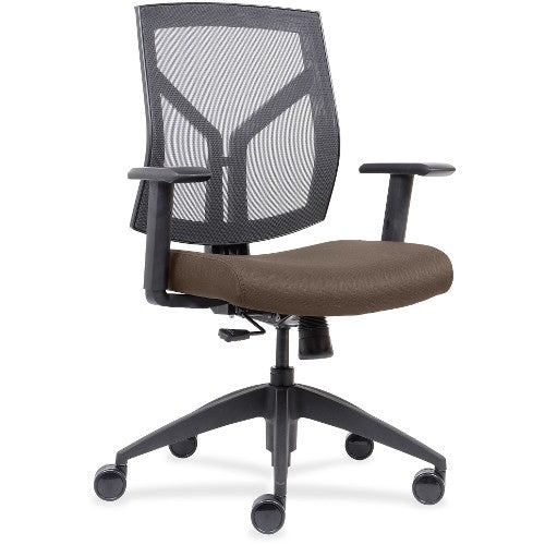 Lorell Made in America Mid-Back Chairs wth Mesh Back & Fabric Seat  in Beige ; UPC: 035255830751