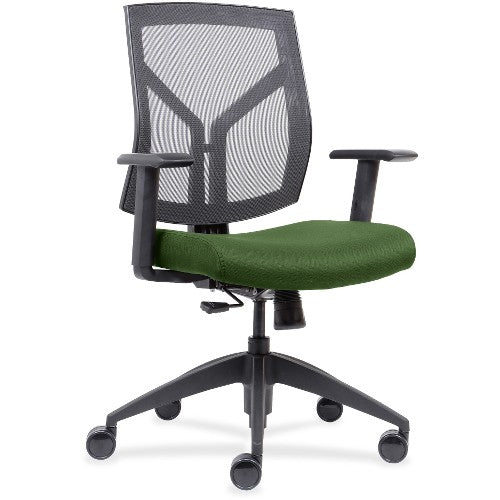 Lorell Made in America Mid-Back Chairs wth Mesh Back & Fabric Seat in Green ; UPC: 035255830751