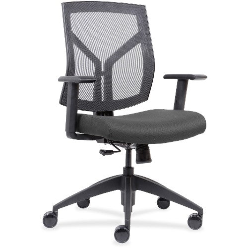 Lorell Made in America Mid-Back Chairs wth Mesh Back & Fabric Seat in Ash Gray ; UPC: 035255830751