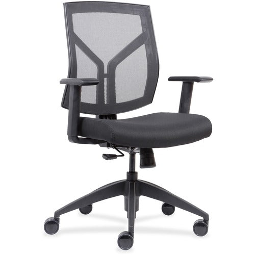 Lorell Made in America Mid-Back Chairs wth Mesh Back & Fabric Seat in Black Vinyl ; UPC: 035255830751