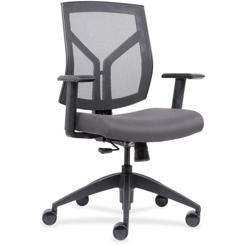 Lorell Made in America Mid-Back Chairs wth Mesh Back & Fabric Seat  in Ash Gray Vinyl ; UPC: 035255830751