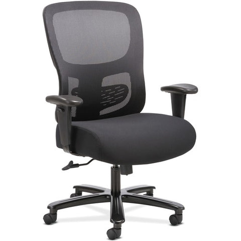 HON Big and Tall Chair | Height-Adjustable Arms | Adjustable Lumbar | Black Fabric and Mesh ; UPC: 888206941316 ; Image 1