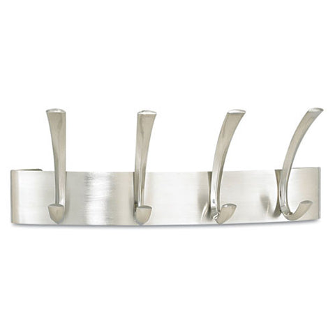 Safco 4205SL Curve 4-Hook Coat Rack ; (073555420517); Color:Silver
