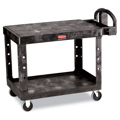 Rubbermaid 4525 HD 2-Shelf Utility Cart Flat Shelf (Med) RCP452500BK, Black (UPC:086876184389)