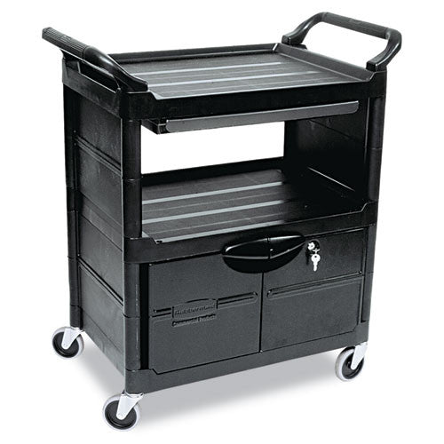 Rubbermaid Commercial Utility Cart with Locking Doors RCP345700BLA,  (UPC:086876163087)