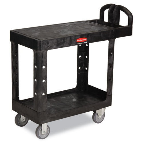 Rubbermaid HD Flat Shelf Utility Cart RCP450500BK, Black (UPC:086876184372)