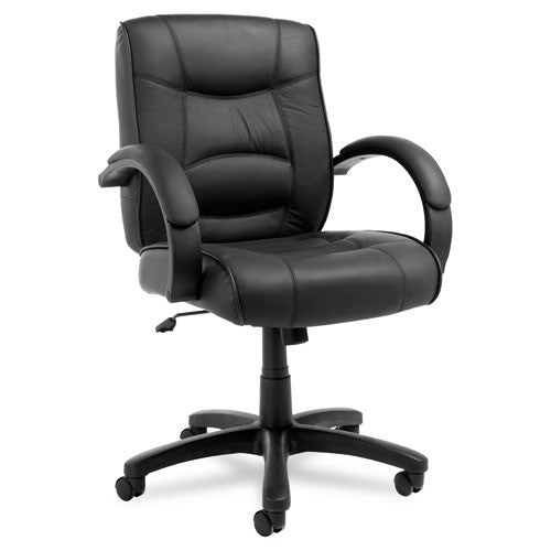 Alera Strada Series Mid-Back Swivel/tilt Chair W/black Top-Grain Leather Upholstery ; UPC: 42167380816