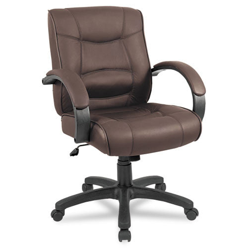 Alera Strada Series Mid-Back Swivel/tilt Chair W/brown Top-Grain Leather Upholstery ; UPC: 42167380823