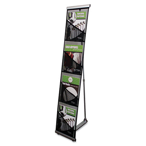 Deflecto 4 Compartment Mesh Floor Display DEF780172, Black (UPC:079916026404)