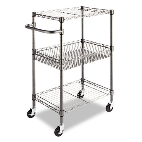 Alera Wire Shelving Three-Tier Rolling Cart ALESW342416BA,  (UPC:042167924485)