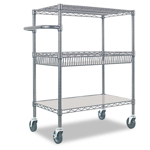 Alera Wire Shelving Three-Tier Rolling Cart ALESW543018BA,  (UPC:042167924393)