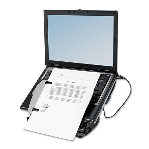 Fellowes Professional Series Laptop Riser with USB Hub FEL8024601, Black (UPC:043859599264)