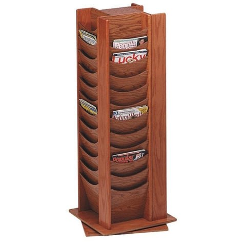 Buddy 48-Pocket Wood Rotating Literature Rack BDY61511, Oak (UPC:025719061517)