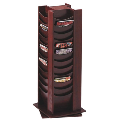 Buddy 48 Pockets Wood Rotating Literature Rack BDY61516, Mahogany (UPC:025719061562)