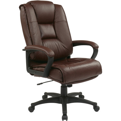 Office Star EX5162 Deluxe High Back Executive Leather Chair OSPEX51624, Burgundy (UPC:090234004745)