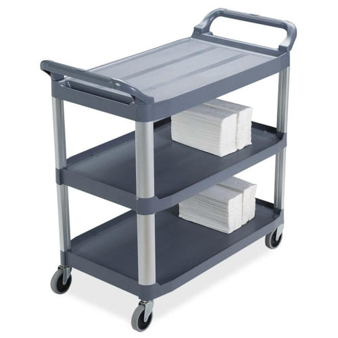 Rubbermaid 3-Shelf Mobile Utility Cart RCP409100, Gray (UPC:086876145076)