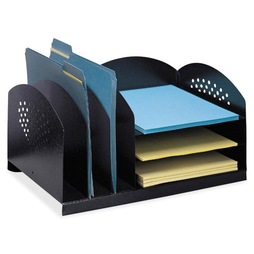 Safco 3 & 3 Combination Rack Desktop Organizer SAF3167BL, Black (UPC:073555316728)