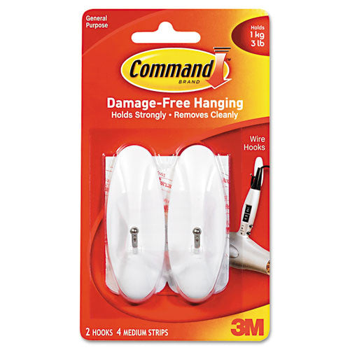 Command Medium Wire Hook ; (051131921276); Color:White