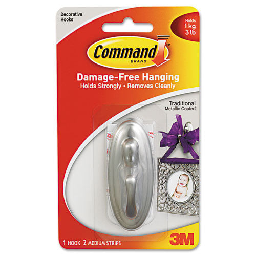 Command Traditional Medium Hook ; (051135806425); Color:Metallic Silver