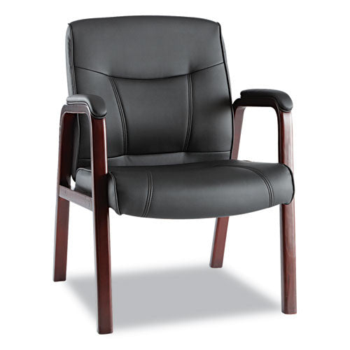 Alera Madaris Series Leather Guest Chair with Wood Trim Legs ALEMA43ALS10M,  (UPC:042167385989)