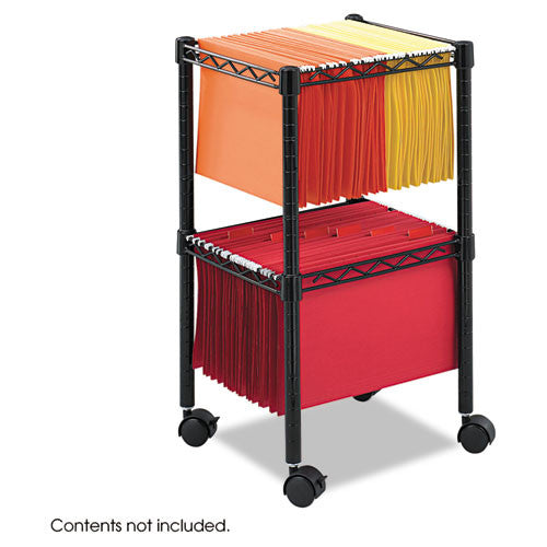 Safco 2-Tier Compact File Cart SAF5221BL, Black (UPC:073555522129)