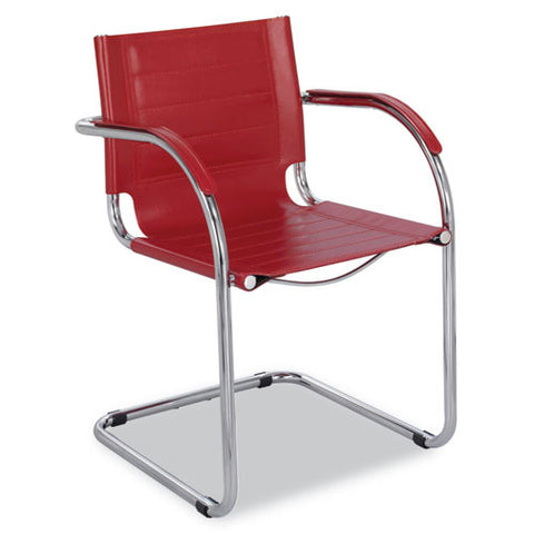 Safco Flaunt Guest Chair Red Leather SAF3457RD, Red (UPC:073555345711)
