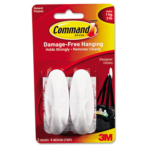 Command Strips and Designer Medium Hook ; (051131769083); Color:White