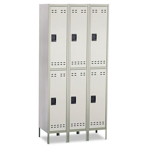 Safco Double-Tier Two-tone 3 Column Locker with Legs SAF5526GR, Gray (UPC:073555552638)