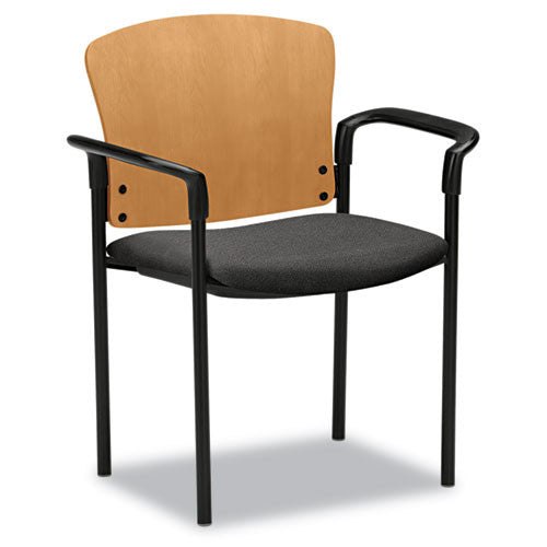 HON Pagoda Srs Wood Back Stacking Guest Chairs Set HON4091CAB12T, Gray (UPC:631530030009)