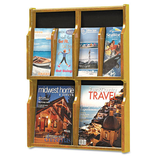 Safco Expose 4 Magazine/8 Pamphlet Oak Display SAF5704MO, Black (UPC:073555570403)
