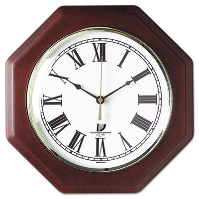 Chicago Lighthouse Octagon Mahogany Frame Clock ; (830951000978)