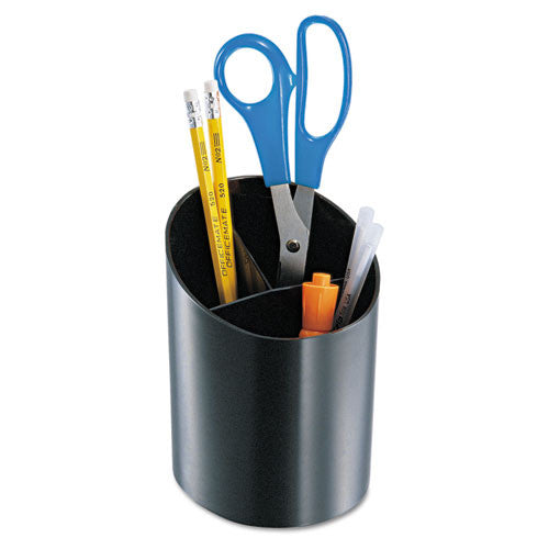 Officemate Recycled Big Pencil Cup, 3 Compartments, Black OIC26042, Black (UPC:042491260426)